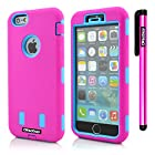 Oksobuy® Apple Iphone 6 plus(5.5 inch) Model Hybrid Dual Layer Armor Protective Case Cover Cellphone Case for Apple Iphone 6 plus(5.5 inch) Case 3in1 Combo Hybrid Hard and Silicone Protective Bumper Case( Apple Iphone 6 Plus Case) and Stylus (Rose Pink with Sky Blue Robot)