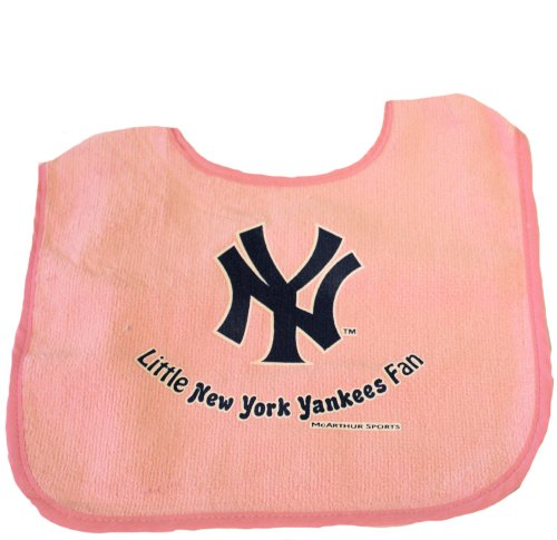 Mlb Officially Licensed 100% Cotton Terry Velour Baby Bib (New York Yankees Pink) front-864509