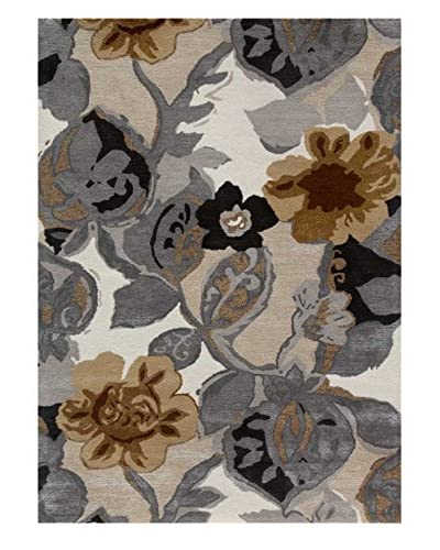 Jaipur Limited Production Hand-Tufted Blue Collection Rug, Ivory/White, 5' x 7'