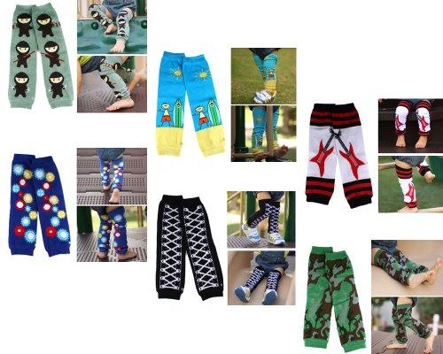 Bundle Monster 6 Pair Baby Leggings / Leg Warmers Mix Design Set for Boy - Fit 0 to 5 yrs Toddler