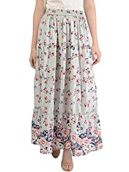 Bonhomie Women Skirts [BCQSB51_Grey Pink Print_Extra Large]