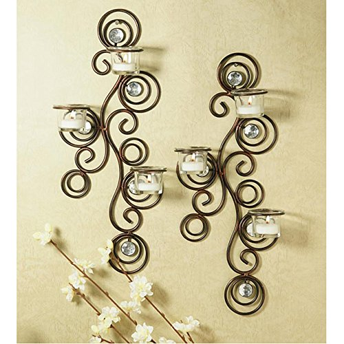 Hosley Wall Sconce Candle Holder : Candle Only Wall Set Two Tealight Sconces Oil Rubbed Bronze Gift Box Friends eBay