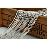 Free Shipping 32 Feet Chain for Bracelet Necklace Silver White Plated Twisted Cross Chains-jewelry Making Chain (B)