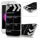 iPhone 6 /6S Funda - Lanveni Chic Elegante Carcasa Suave TPU Gel Silicona ultra Slim para iPhone 6 /6S 4.7 pulgadas Transparente Case - Patrón pizarra Diseño (Negro)