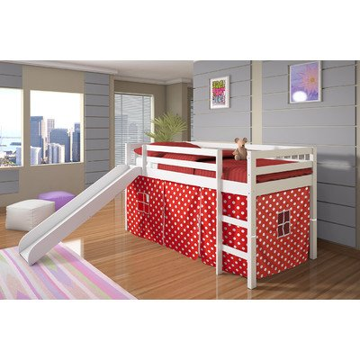 Twin Tent Loft Bed with Slide Finish: White, Color: Red Polka Dot