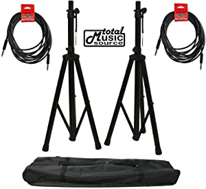 Dj Pa Speaker Universal Adjustable Height Tripod Stands & Nylon Carry Bag With Cables