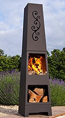 La Hacienda Manoa Black Steel Garden Chiminea With Laser Cut Design 150cm High
