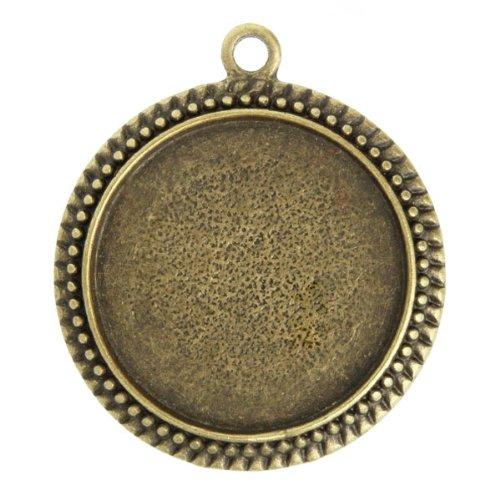 3pcs Antique Vintage Brass Cabochons Settings Charm Pendants Frames Blanks Bases 35.5x31x3mm U-TS7388-4