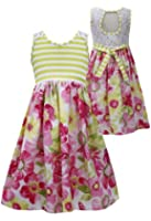 Tween Big Girls 7-16 Lime-Green Pink Cut Out Lace Back Floral Knit Dress