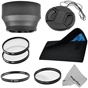 Special Effects Kit for NIKON (D3000 D5000 D90 D40 D60 D3100 D300s D300) and any other DSLR Camera with 52MM Lens - Includes: 2 Star filters (4, 8 points) + 52MM Screw On Collapsible Rubber Lens Hood + Center Pinch Lens Cap + UV and CPL Filter + Filter Pouch + Premium MagicFiber Microfiber Cleaning Cloth