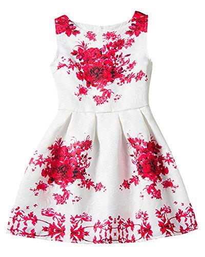 Moollyfox Niña Vestido Con Estampado Flor para Partido Boda Sin Mangas Vestido de Princesa Rojo 140CM