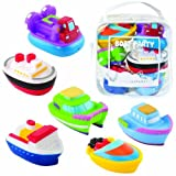 Elegant Baby 6 Piece Bath Squirties Gift Set in Vinyl Zip Bag, Boats Baby, NewBorn, Children, Kid, Infant