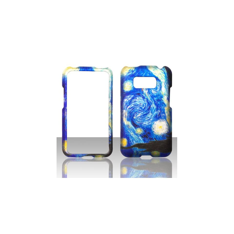 2D Blue Design LG Optimus Elite LS696 Sprint, Virgin Mobile Case Cover Hard Protector Phone Cover Snap on Case Faceplates Cell Phones & Accessories
