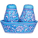 The Himalaya Craft Blue Salt & Pepper Shakers With Round Base Salt Mill And Pepper Mill