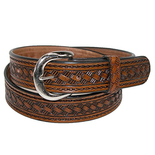 CTM® Mens Leather 1 3/8 Inch Removable Buckle Western Belt, 40, Brown