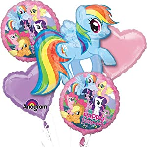 "My Little Pony Bouquet of Balloons 1 Supershape 28x27, 2 Pink Heart, 2 Happy Birthday 18"" Party Hit W Ribbons Too! by Anagram"