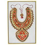 India Art Embossed Miniature Painting Of Indian Jewelry Necklace On Marble Plate 15 X 10 cmby ShalinCraft
