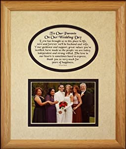 8x10 TO OUR PARENTS ON OUR WEDDING DAY Picture & Poetry Photo Gift Frame ~ Cream/Navy Blue Mat ~ Heartfelt Wedding Day Keepsake Gift for Parents of the Bride and Groom ~ Daughter and Son