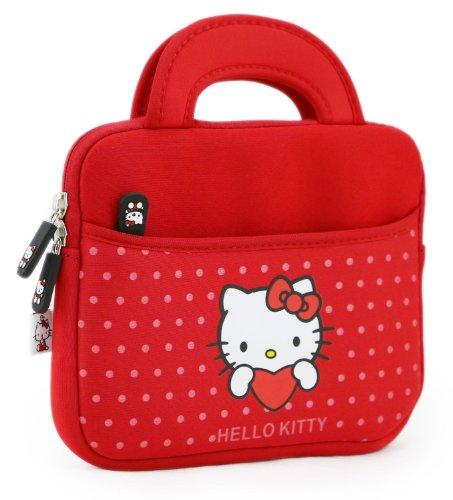 Hülle für Prestigio MultiPad 8.0 Pro Duo / 2 Pro Duo 8.0 3G Tablet mit Hello Kitty Motiv mit Griffen in rot Punkten (Neopren, Wasserdicht, Dual YKK Reißverschlüsse, Außentasche, mit weichem Plüsch Innenfutter)