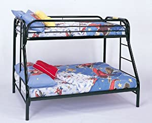 Twin Full Size Metal Bunk Bed with Double Ladders in Black Finish from Coaster