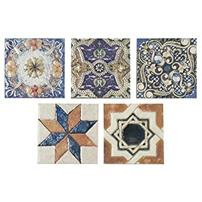 "SomerTile FPM3ART Leon Ceramic Floor and Wall Trim Tile, 2.75"" x 2.75"", Cream/Blue/Purple/Green/Red/White/Beige/Brown/Black/Yellow"