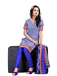 Anjali Presents Splendiferous Blue Coloured Printed Dress Material