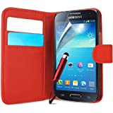 Supergets® Premium Flip Wallet Pocket Case For Samsung Galaxy S4 Mini I9190 Includes Screen Protector, Touch Screen Stylus And Polishing Cloth