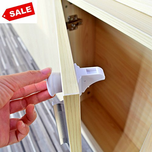Childproof Safety Locks - No Drilling Required - Quick and Easy Installation - Child Safety Product For Drawers and Cabinets - Baby Protection Against Harmful Household Products [4 Locks +1 Key]