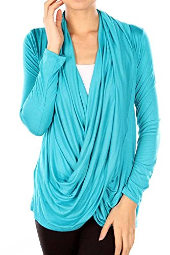 Viosi Solid Criss Cross Cardigan - Made in USA (Turquoise, Small)