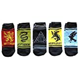 Harry Potter Deathly Hallows House Animals Gryffindor Ravenclaw Hufflepuff Slytherin 5 Pack Ankle Socks