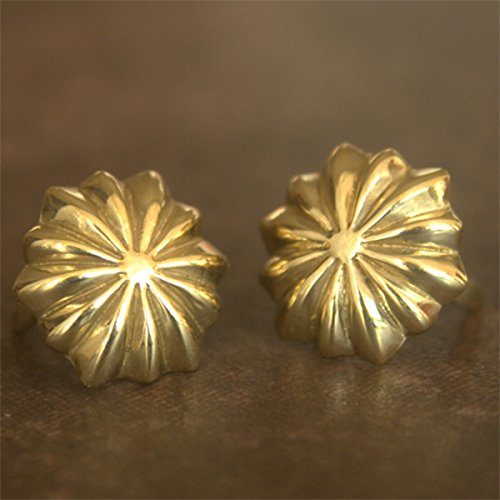 2-pack Small Native Flower Concho Prong Concho Brass Leathercraft Japan-Model Dia.11mm