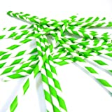Bella Cupcake Couture Paper Party Striped Straws, Green/White