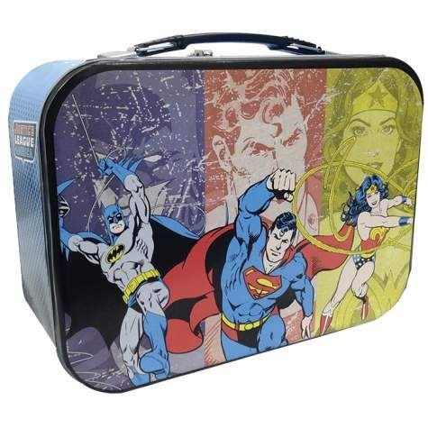 Superman Batman and Wonder Woman Super Friends Collectible Metal Lunch Box Tin - 1