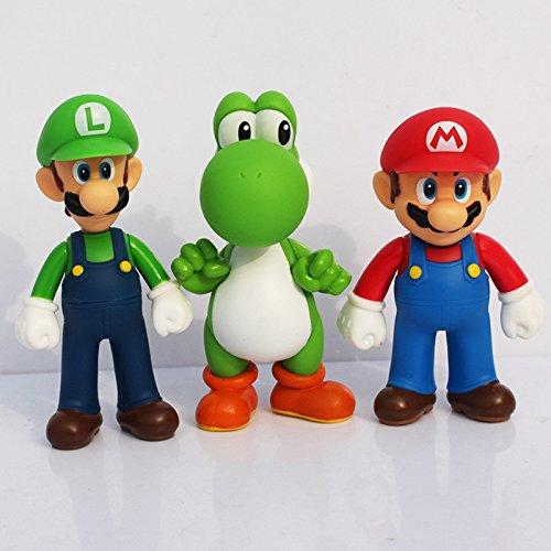 [3pcs/set Super Mario Bros Luigi Mario Yoshi PVC Action Figures toy 13cm] (Dance Central Character Costumes)