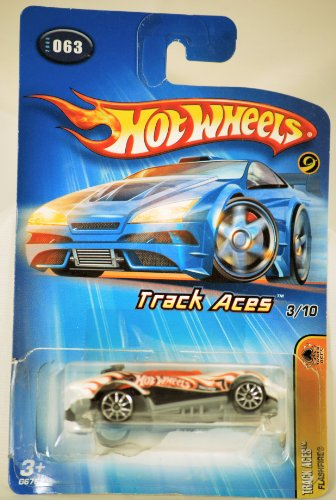 2004 - Mattel - Hot Wheels - #063 - Model G6762 - Track Aces Series - Flashfire - White, black & orange - Orange Canopy - Die Cast Metal - New - Collectible