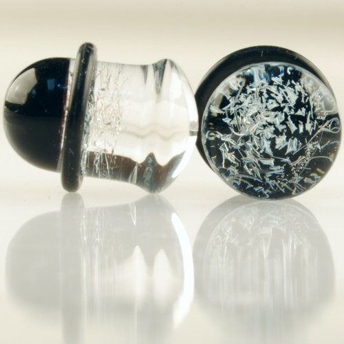 Pair of Glass Single Flared Foil Galaxy Plugs: 00g Diamond