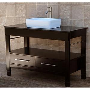 48 bathroom vanity cabinet black granite top ceramic vessel sink
