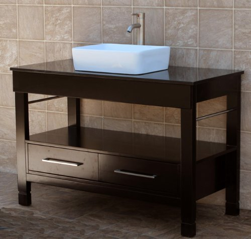 How About 48 Bathroom Vanity Cabinet Black Granite Top Ceramic Vessel Sink Fa
