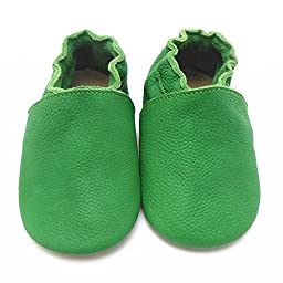 Sayoyo Lowest Best Baby Soft Sole Prewalkers Skid-resistant Baby Toddler Shoes Cowhide Shoes (6-12 months, Green)