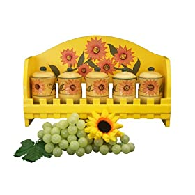 KITCHEN 5PC SPICE RACK W/WOOD HOLDER SUNFLOWER DECOR