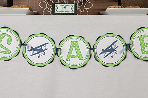 "Airplane ""It'S A Boy"" Baby Shower Banner (Green & Navy Blue)"