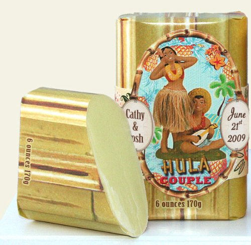Dolce Mia Hula Couple Tropical Citrus Natural Soap Bar with Shea Butter 6 oz. (6 per order) Personalized Gift Favors