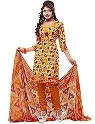 SareeShop Women's Georgette Semi-Stitched Dress Material (B2B3001_Yellow_Free Size)