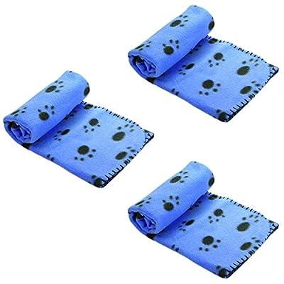 MEGA VALUE 3 x Blue Soft Fleece Warm Pet Dog/Cat Bed Blankets