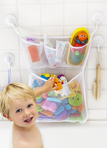 Tub Cubby Bath Toy Organizer with Multiple Pockets + Bonus of 4 Heavy Duty Lock Suction Cups and Durable Mold Resistant Mesh Washable + Guarantee