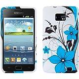 kwmobile® TPU Silikon Case mit Blumen-Design für Samsung Galaxy S2 i9100 / S2 PLUS i9105 in Blau Weiß - Stylisches Designer Case aus hochwertigem weichem TPU