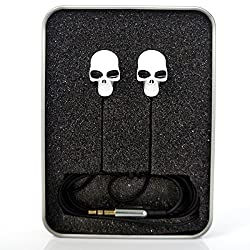 SUPER SPACE Cool Earbuds Metal Colorful Skull Headphones,In-Ear Headphone,Stereo,Super Bass,3.5mm Plug Jack (White)