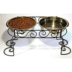 Stainless Steel Scroll Work Double Diner by Ethical Pet