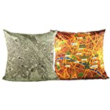 NAVA 2pcs France Paris Italy Florence Travel Tour City Maps Pillowcase Cushion Cover