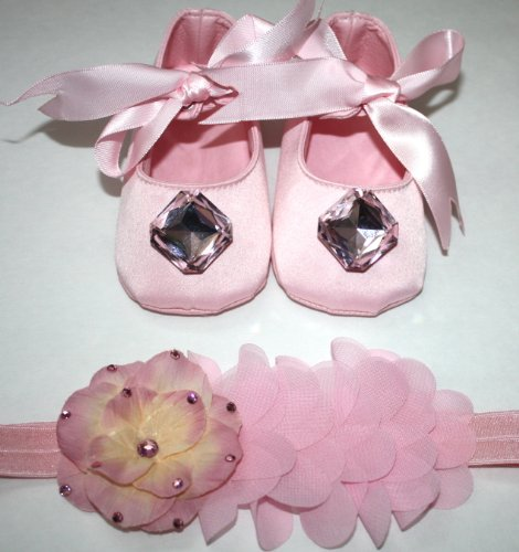 Pink Princess Crib Shoe And Soft Flower Headband 3-6Month front-558023